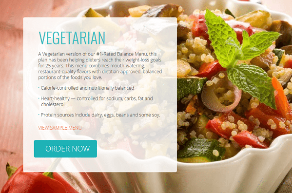 Diet to Go Vegetarian Menu